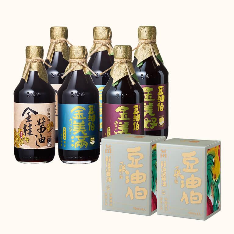 【熱銷加碼送】金桂醬油2入+金美好醬油2入+金美滿醬油2入(共6入)送甘田醬包2盒