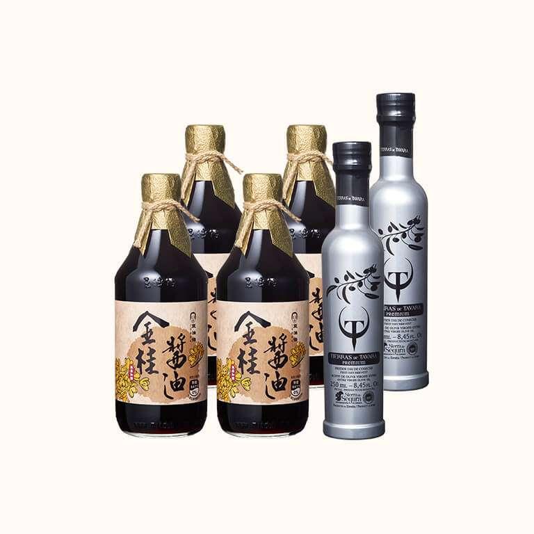 【會員日買4送2】金桂無添加醬油4入+T&T橄欖油250ml 2入(有效期20231114)