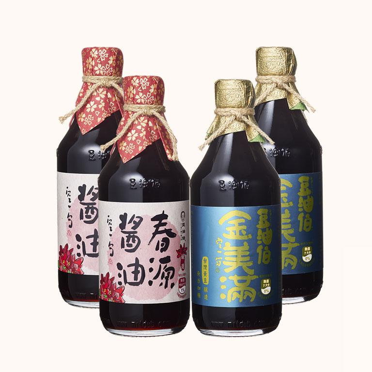 【AA無添加驗證】金美滿醬油 2入+春源醬油 2入