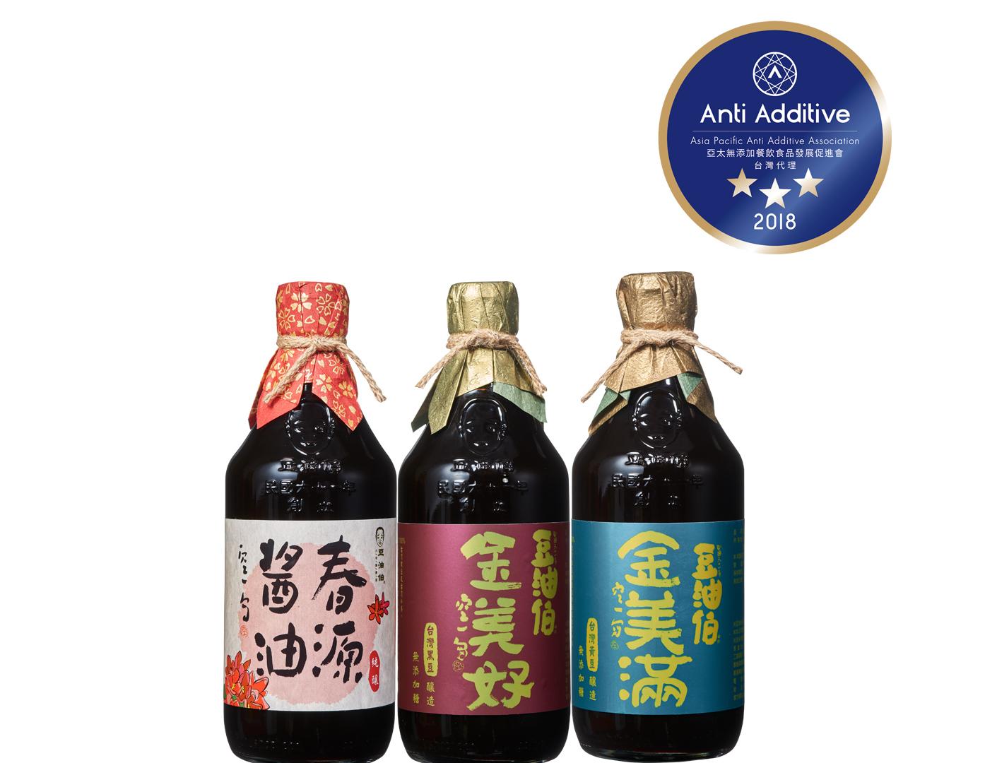 無添加黑豆醬油組:金美好無加糖*2/春源黑豆*2(醬油*4入)送甘田薄鹽醬油200ml